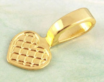 25 Gold Plate Glue On Heart Bail 21mm 10mm Heart MEDIUM