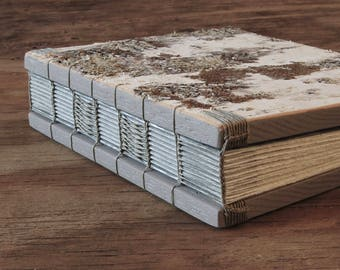 birch wedding guest book or wood journal - birch bark cabin guest book   natural  unique wedding anniversary gift memorial ready to ship