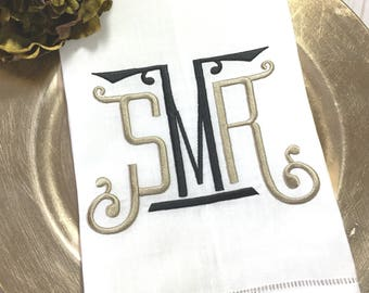 Chinoiserie Monogram Linen Hemstitch Guest Towel. Powder Room Decor. Bar Cart Accessories. Hostess Gift. Embroidered Linens. Gifts under 25