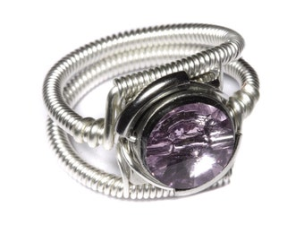 Cyberpunk Jewelry - RING - Light Amethyst Swarovski Crystal