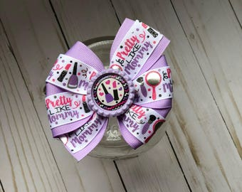 Pretty Like Mommy double ribbon pinwheel bow