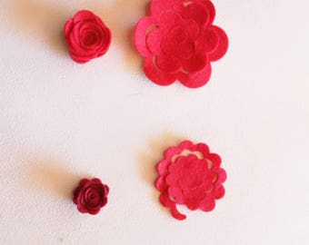 10 die cut felt or felt die cut paper rose