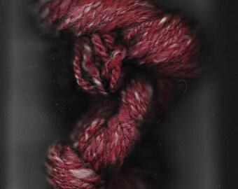 "Gorgeous hand spun wool Cranberry Raisin yarn "" 68 yards"""