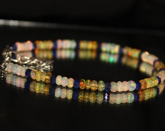 Lapis Lazuli , Beaded Bracelet, Lapis Bracelet, Lapis, Opal Rondelle, Beaded Bracelet, Dainty bracelet, 6 Inch Bracelet, Opal Blue 0038