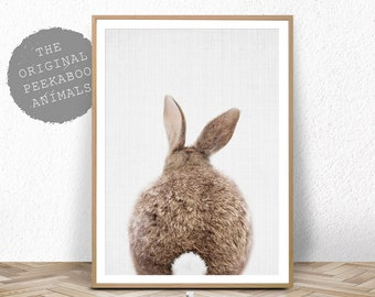 Nursery Decor Rabbit Print, Printable Wall Art, Bunny Tail Poster, Digital Download, Nursery Animal Prints, Bunny Rabbit Tail Wall Art Decor