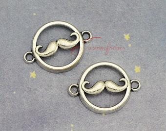 25PCS--18x25mm moustache charms, Antique Silver moustache connector charm Pendants, DIY Findings, Jewelry Making JAS00648DS