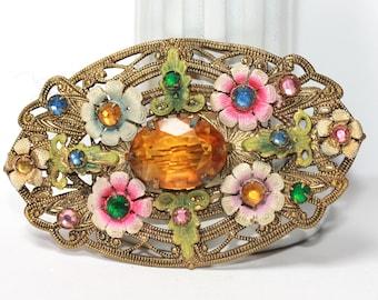 Antique Edwardian LARGE Brooch Pin Colorful Stones Enamel Flowers Ivy Leaves Floral Gild Metal Openwork