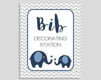 Bib Decorating Station Sign, Navy Elephant Shower Table Sign, Grey Chevron, Baby Boy,  INSTANT PRINTABLE