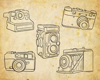 Hand Drawn Cameras Clip Art, Outline Cameras Clipart, polaroid vintage Digital vector and png Cameras,  Vector EPS - INSTANT DOWNLOAD