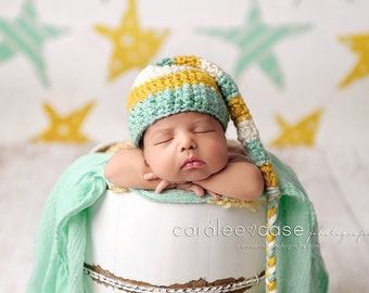 Elf Hat in Mint, Mustard, and Cream with Braided Tail