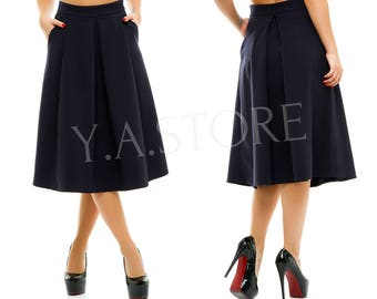 Navy Pleated Midi Skirt Woman Custom Made Classic Dark Blue Skirt