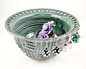 Pottery earring holder, ceramic jewelry bowl, handmade Jewelry holder in dark  green - In stock