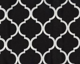 Quatrefoil Fabric White on Black 100% Cotton