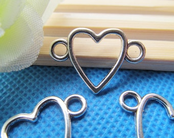 16mmx24mm Antique Silver tone Heart Frame Connector Pendant Charm/Finding,Bracelet Connector Charm,DIY Accessory Jewellry Making
