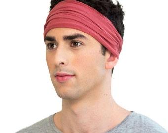 ENSO Classic Marsala Red Headband for Men. Premium Men's Headband. Organic Cotton Bandana Headband. Great Yoga Headband & Running Headband.