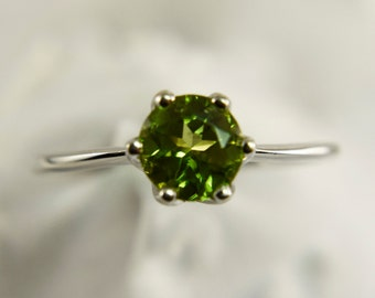 Peridot Ring, Genuine Gemstone 6mm Round, Set in 925 Sterling Silver Solitaire Ring
