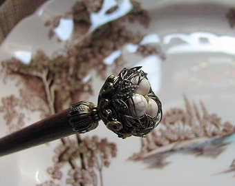 Victorian Secret Garden Wire Wrapped Bird Nest Hair Stick or Shawl Pin