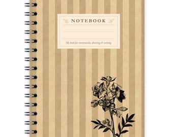 Notebook A6 - Flower on Stripes