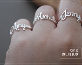 Custom Name Ring - Personalized Name Ring - Baby Name- Your name ring - New Mom Ring - Bridesmaid Jewelry-Birthday gift.#RF10