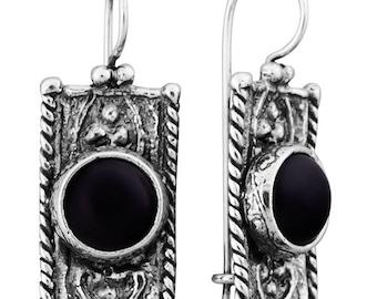 Sterling Silver Earrings, Black Onyx Earrings,  Silver Jewelry, handmade
