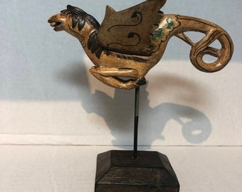 Hand Carved Hand Painted Wooden Horse with Wings - Made in Indonesia
