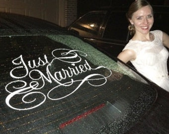 Just Married car sign vinyl decal 23 x 13""