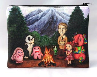 Campfire of Misfit Toys - Zipper Pouch - Whimsical bonfire with various toys - Art by Marcia Furman