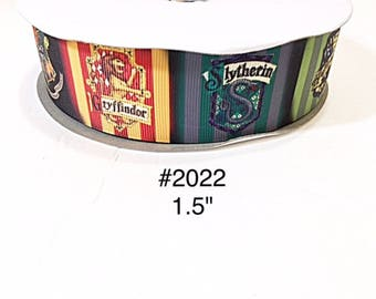 """3 or 5 yards - 1.5"""" Magic Wizard Wizarding School on Grosgrain Ribbon For Hair bow Craft supply"""