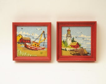 Vintage PAIR Lighthouse Sailboat Needlepoints Framed