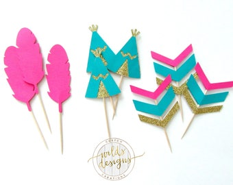 Boho cupcake topper, teepee, feather, arrow. Tribal party. Wild one party. Glitter cupcake toppers.