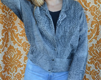 Vintage leather jacket 80's bat wing retro grey coat 1980's Italian soft hide slouchy rocker oversized