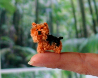 Miniature amigurumi silky haired terrier puppy. Comes with FREE display box.