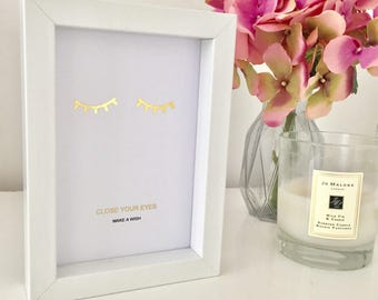 Handmade 'Close your Eyes, Make a Wish'  Inspirational quote Gold Foil Print - Framed - Black or White