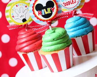 Mickey Mouse Birthday | Mickey Mouse Party Cupcake Toppers | Mickey Mouse Cupcake | Mickey 1st Birthday Printable | Amanda's Parties To Go