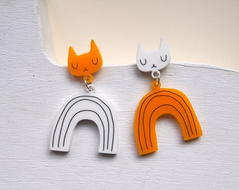 Yellow and White Rainbow Cat Earrings - Cat earrings - Rainbow Earrings - yellow Cat - Acrylic jewellery - Laser cut jewellery - Cat jewelry