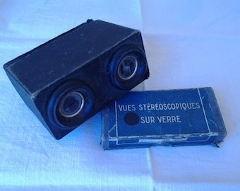 stereoscopic viewer with photographs on glass plates