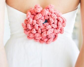 CHRYSANTHEMUM PIN Hand Crochet With Jewel Center