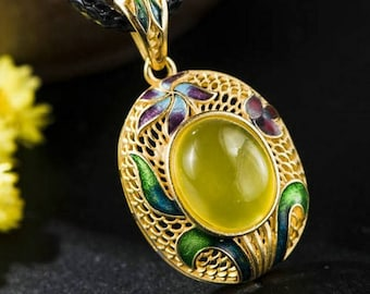 """925 Stamped Sterling Silver Natural Agate Enamel Cloisonne Flower 18"""" Cord Chain Necklace"""