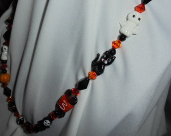 Handmade beaded halloween necklace