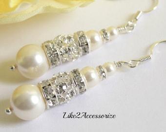 Bridesmaid Pearl Earring, Wedding Pearl Earings, Bridal Pearl Drop Earring, Swarovski White Ivory Brown Pearl Jewelry, Silver Plated Earring