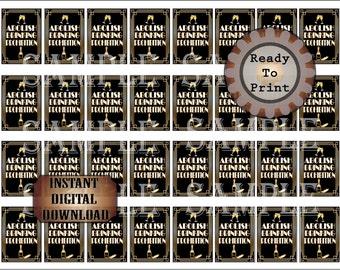 "32 ""Abolish Prohibition"" Mini Booze Bottle Labels Printable Champagne Bottle Flute Bootleg Prohibition Speakeasy Gatsby Roaring 20s Favors"
