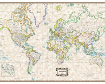 """World Wall Map Classic Executive Poster - 36""""x24"""" Rolled Paper or Laminated 2018"""
