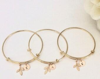 Bridesmaid Bracelet Set / Bridesmaid Bracelet / Bridesmaid Gift /Personalized Gift / Initial Jewelry/ Bridesmaid Bracelet Set of 6/ Set of 3