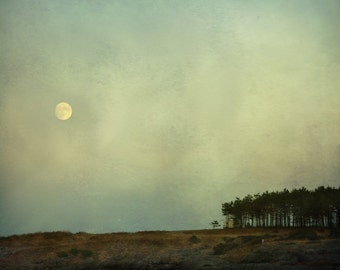 Moon art, dreamscape photo print, surreal nature art, Norwegian landscape photography, minimalistic photography