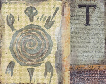 Turtle Mixed Media - 6x6, 8x8 and 12x12 Print of Original