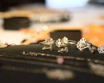 Snowflake silver ring · Silver Snowflake adjutsable ring