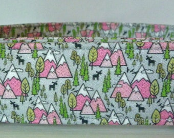 """Mountain Trees Dog Collar - Girl Dog Collar - Pink Mountains and Trees - Outdoor Collar - Hiking Collar - """"Cascades"""" - Free Colored Buckles"""