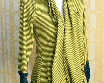 Citrus Stripe Cicada Cardigan, choose your size, in citron yellow stripe organic cotton with hand printed teal cuffs