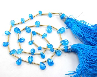 1 Strand Neon Apatite Smooth Pear Shape Beads - 31.55 ct Apatite Briolette ,4x5 To 6x9 mm 12 Inch Strand