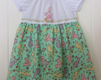 Girl's Size 3 Pink Bunny Peasant Style Dress With Mint Green Gingham Bunny Print Skirt